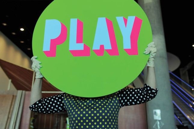 Morag Myerscough with signage for her Pavilion for the Library of Birmingham Discovery Season, credit Library of Birmingham